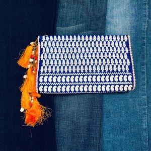 ANTHRO Jasper Jeera embroidery clutch bead tassel